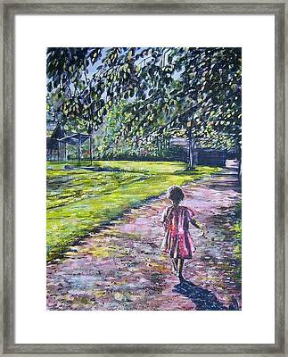 Girl On Trail Framed Print by Linda Vaughon