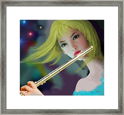 Girl Playing Flute 2 Framed Print