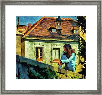 Girl Posing On Stone Wall Framed Print