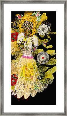 Girl Quilt - Fabric Girl - Nature Girl - Yellow Sunlight Framed Print by Marie Jamieson