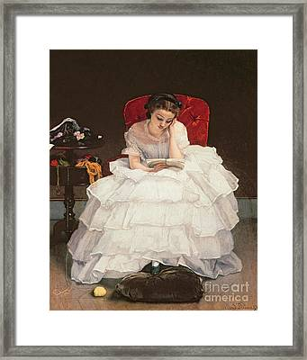 Girl Reading Framed Print by Alfred Emile Stevens