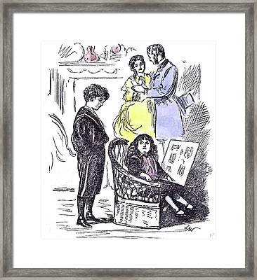 Girl Reading At Home 1874 Chair Parents Brother Sister Framed Print by English School