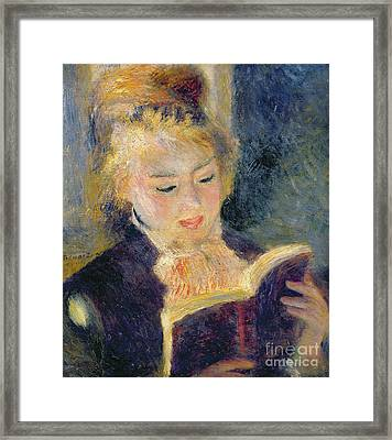 Girl Reading Framed Print by Pierre Auguste Renoir