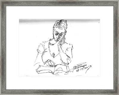 Girl Reading Framed Print