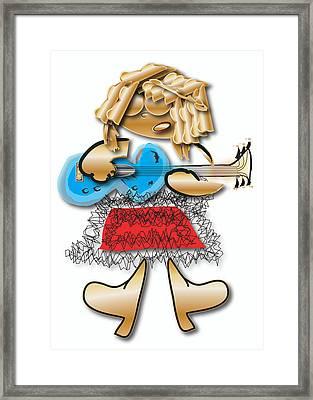 Framed Print featuring the digital art Girl Rocker 6 String Guitar by Marvin Blaine