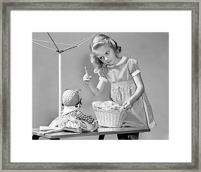 Girl Scolding Aunt Jemima Doll, C.1940s Framed Print by H. Armstrong Roberts/ClassicStock