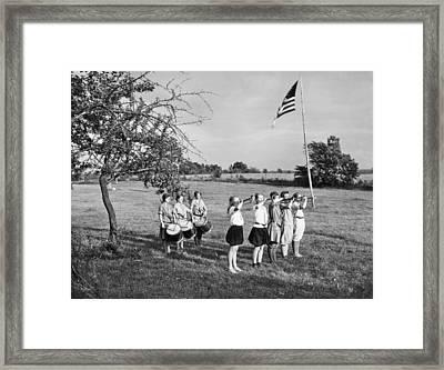 Girl Scout Camp Flag Ceremony Framed Print