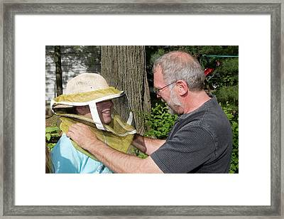 Girl Scouts Learning About Honey Bees Framed Print