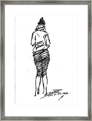 Girl Sketch Framed Print by Ylli Haruni