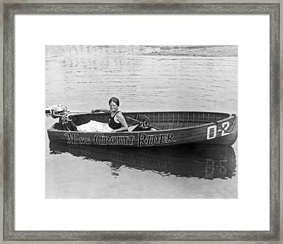 Girl Speedboatdriver To Race In President's Cup Races Framed Print by Underwood Archives
