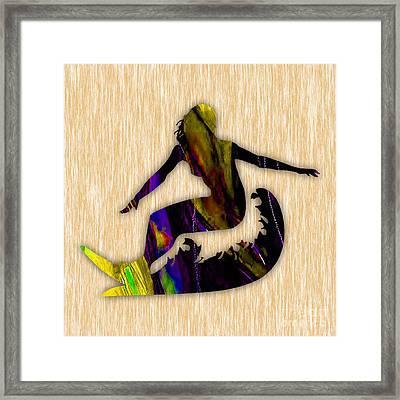 Girl Surfer Art Framed Print by Marvin Blaine