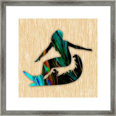Girl Surfing Painting Framed Print by Marvin Blaine