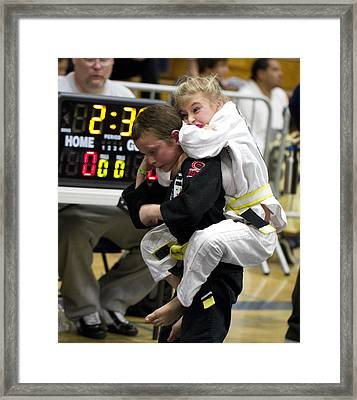 Framed Print featuring the photograph Girl Taps Out Boy by Nathan Rupert