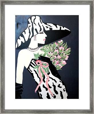 Girl That Loves Pink  Art Deco Framed Print