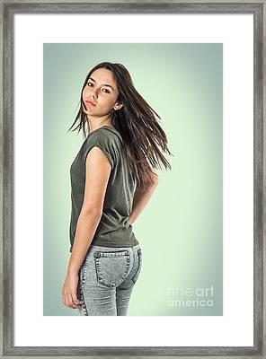 Girl Turning Head Framed Print