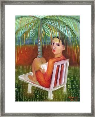 Girl Under Palm Framed Print