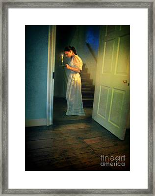 Girl With A Candle Framed Print by Jill Battaglia