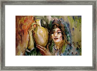 Framed Print featuring the painting Girl With A Jug. by Faruk Koksal