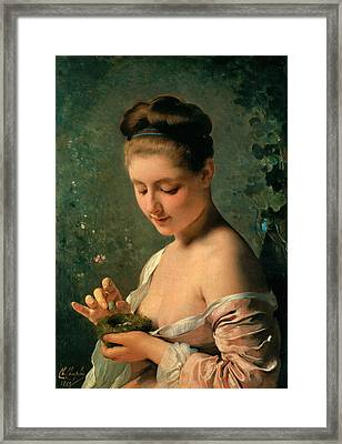 Girl With A Nest Framed Print by Charles Chaplin