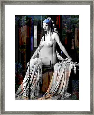 Girl With A Pearl Earing Pregnant Nude Framed Print