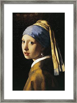 Girl With A Pearl Earring, C.1665 Oil On Canvas Framed Print