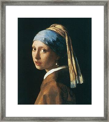 Girl With A Pearl Earring Framed Print by Jan Vemeer