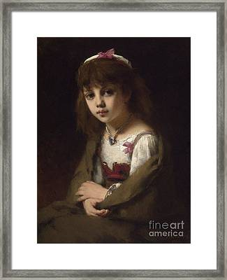 Girl With A Pearl Necklace Framed Print by Celestial Images