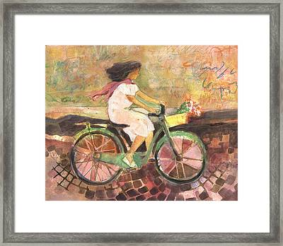 Girl With A Pink Scarf Framed Print by Jen Norton