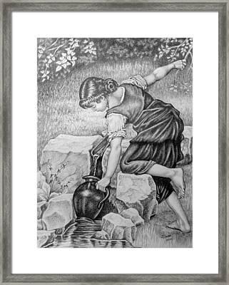 Girl With A Pitcher. Framed Print by Zdzislaw Dudek