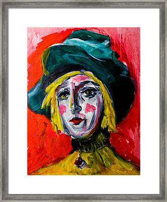 Girl With A Green Hat Framed Print