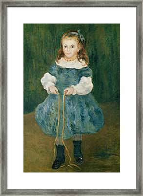 Girl With A Skipping Rope, 1876 Oil On Canvas Framed Print