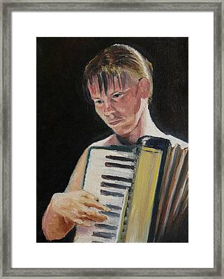 Girl With Accordion Framed Print