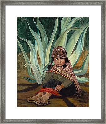 Girl With Agave Framed Print