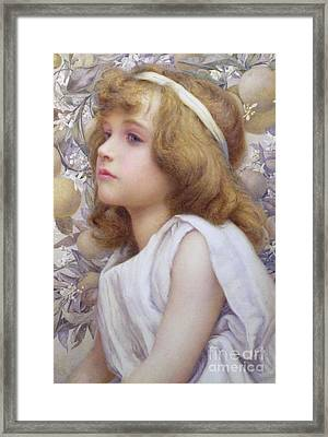 Girl With Apple Blossom Framed Print