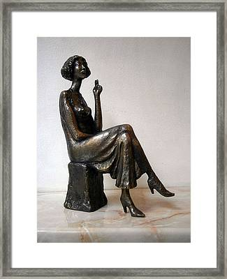 Girl With Bare Breasts Framed Print by Nikola Litchkov