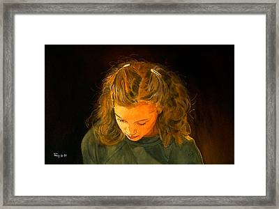 Girl With Barrettes  Framed Print by Robert Tracy