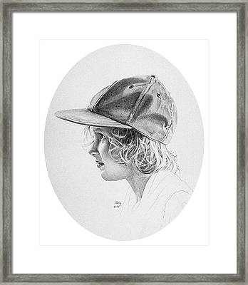 Girl With Baseball Cap Framed Print by Robert Tracy