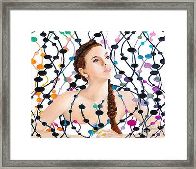 Girl With Beads Framed Print