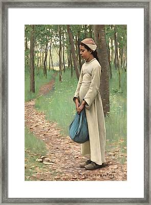 Girl With Bindle Framed Print by Louis Welden Hawkins