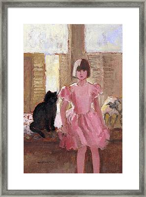 Girl With Black Cat Framed Print