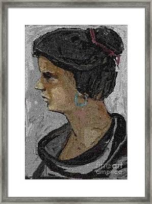 Girl With Blue Earrings Framed Print by Pemaro