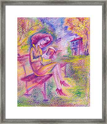 Girl With Book Framed Print by Milen Litchkov