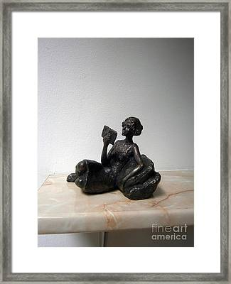 Girl With Book Framed Print by Nikola Litchkov