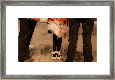Girl With Bow Tie Shoes Framed Print