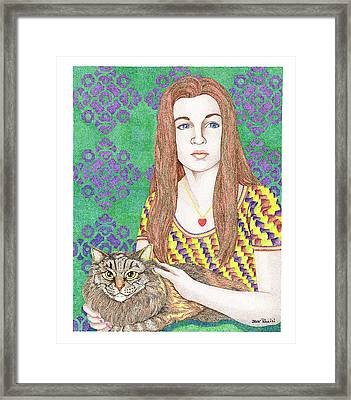 Girl With Cat Framed Print by Jack Puglisi