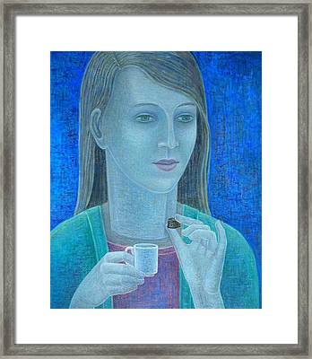 Girl With Chocolate, 2011, Oil On Canvas Framed Print