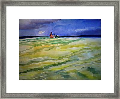 Girl With Dog On The Beach Framed Print
