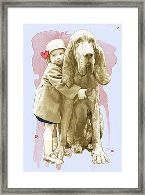 Girl With Dog Stylised Pop Modern Art Drawing Sketch Portrait Framed Print by Kim Wang