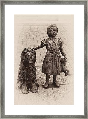 Girl With Dog Framed Print by Vessela Banzourkova