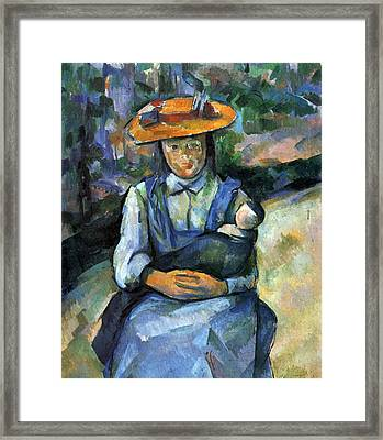Girl With Doll By Cezanne Framed Print by John Peter